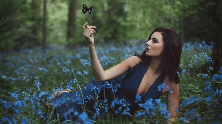 Sammy Braddy - forest, brunettes, models, halter top, sammy braddy, flowers, nature, fields