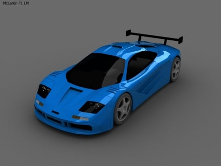 Blue McLaren F1LM - Sport, Tinted Windows, Beauty, Fast, Wheels, Spoiler, Sleek, Blue