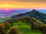 Sunset at castle Hohenzollern, Germany