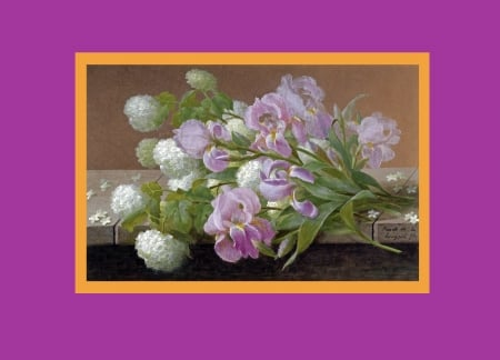 Pink lilies & white lilacs on a ledge - pinkish purple, orange, frames, greenery, France, delicate, 2394x1728, pink lillies, Raoul Maucherat de Longpre, stone, green, painting, ledge, white lilacs