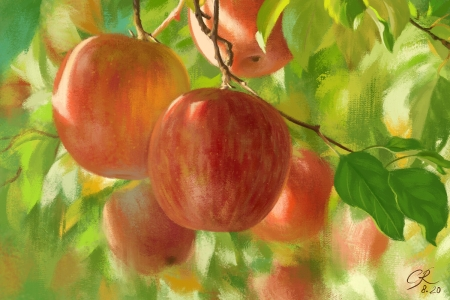 Apples - mar, green, crystalrain, art, red, apple, crystal rain, autumn, toamna, fruit, fantasy
