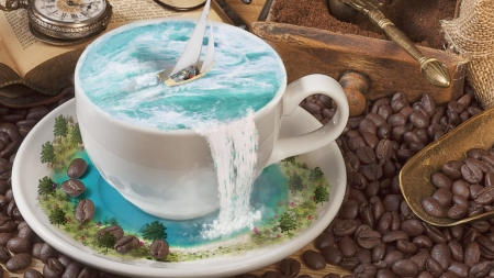 A cup of sea by Priscilla Reyes - fantasy, coffee, beans, cup, summer, sea, blue, creativ, priscilla reyes, vara