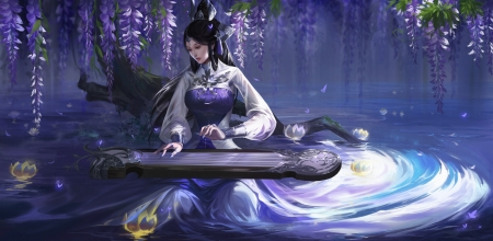 Fantasy girl - frumusete, luminos, superb, wisteria, water, instrument, qumart, fantasy, girl, purple, dark, flower, qu m, blue, night, gorgeous, lotus