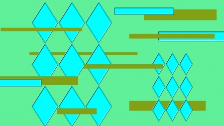 Geometric Cyan - square, mind bending, diamond squares, abstract, forward, lite green, rectangle, New Age, cyan, juxtapose, lite colors