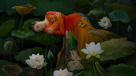 Lazy Day to Day Dream - lotus, young, dress, orange, flowers, day, dream