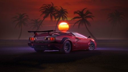 Lamborghini Countach at Sunset - cars, sunset, lamborghini, countach, palm trees