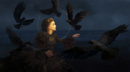 Crows dancing - crow, ling zhao, dancer, art, wings, raven, black, fantasy, bird, girl, dark, pasari, night