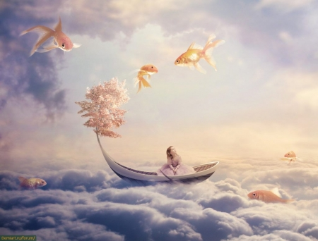 :) - sky, cloud, fish, luminos, creative, vara, boat, fantasy, pesti, girl, summer, ppesti
