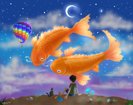 Submerge - sky, ghelu pietas, cat, hot air ballon, water, fantasy, balloon, vara, boy, pesti, summer, pisici, fish, orange, moon, blue, fisg, luminos, luna