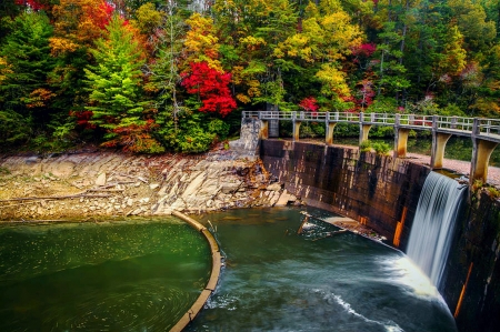 Dam at Cherokee Lake - water, USA, trees, Tennessee, colors