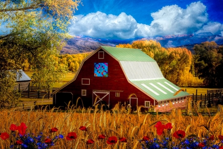 Deep in the Heart of Country - barn, mountains, flowers, Appalachian, clouds, sky, trees