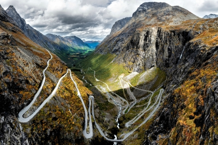 Winding Road through a Fjord - fjord, nature, road, mountains