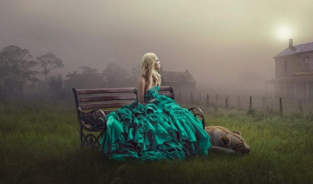 Deep in Thought - gown, sitting, Female, Misty, bench, Ethereal, dog, Softness, fantasy, feelings