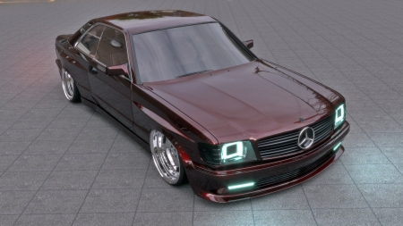 MERCEDES SEC WIDEBODY - widebody, 2020, sec, led, realistic, white, reflection, 3dsmax, vray, c126, hdri, photorealistic, low, mentalray, black, amg, 2018, panorama, xenon, 3d, 2019, photoshop