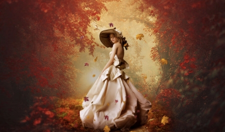 Lady in an Autumn Path - Fall, dreamy, Lady, fantasy, autumn, pathway, woods, hat, forest
