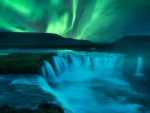 Aurora Borealis over Godafoss Waterfall, Iceland