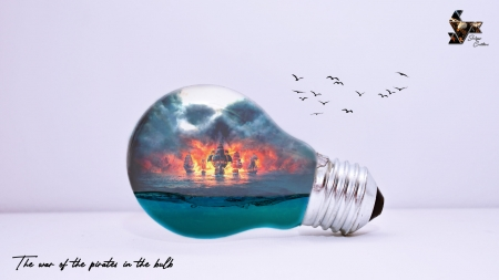 The war of the pirates in a bulb - ship, harsha m weerakkodi, summer, bulb, creative, skull, sea, water, fantasy, vara