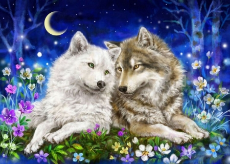 Forever Love - flowers, moon, wolves, pair, painting