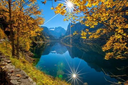 Autumn sun - autumn, sun, Austria, upper, sunshine, beautiful, lake, mountain, rays, branches