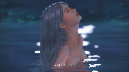 Rise - art, fantasy, water, rise, girl, luminos, amte pra, blue