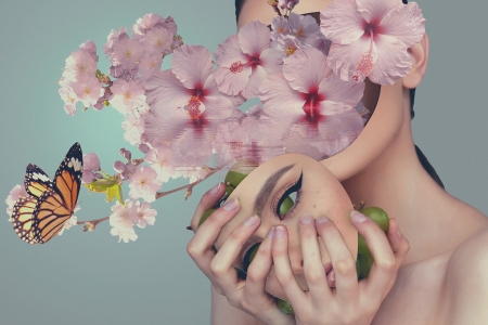 Grapes fell out of my face - struguri, victoria inamine, luminos, spring, grapes, blossom, fantasy, butterfly, girl, hand, flower, face, pink, surreal