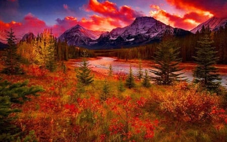 Autumn sunset over the Grand Teton mountains - wyoming, clouds, sky, usa, colors