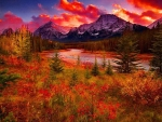 Autumn sunset over the Grand Teton mountains