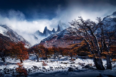 Autumn in Patagonia - trees, snow, mountains, leaves, clouds, sky