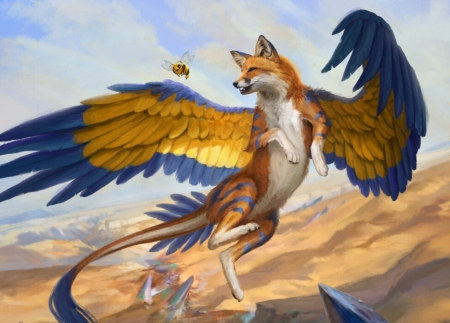 Vulpikeet - creature, wings, frumusete, orange, luminos, yellow, vulpikeet, vulpe, fantasy, fox, leesha hannigan, blue