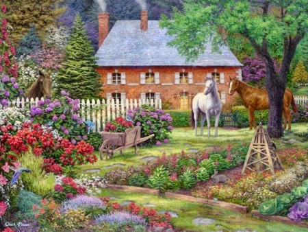 The sweet garden, by Chuck Pinson - garden, fieold, paintying, horse, Chuck Pinson