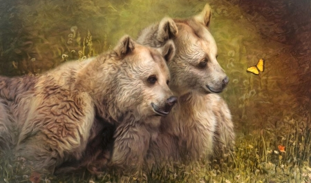 Curious Bear Cubs - butterfly, Bears, browns, curious, Painting, animals, pair, sweet, nature