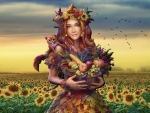 Fall Fantasy Girl and Sunflowers