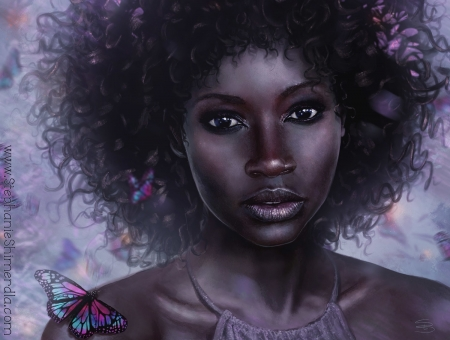 May - face, may, art, stephanie shimerdla, fantasy, black