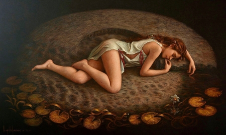Painting of a Woman - laying down, fantasy, lovely, painting, browns, Woman, vintage