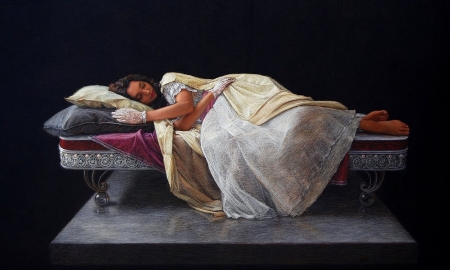 Painting of a Woman - brunette, model, white gown, laying down, painting, resting, Woman, lady, vintagge