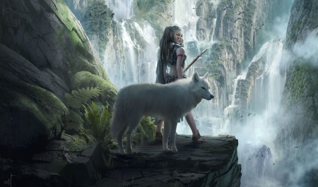 wolf falls - rocks, wolf, woman, girl, plants