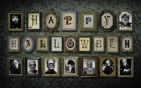 Halloween Movie Legends - movies, films, horror, halloween, black and white, collage
