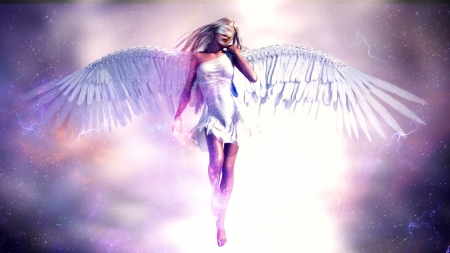 Angel burst - wings, glow, angel, white, sky, woman, lights, art, divine, digital