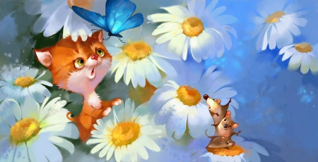 ლ - Flowers, Mouse, Cat, Butterfly, Chamomile