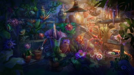 Plants - stuff, fantasy, marina riabokon, luminos, plant, flower