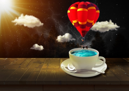 :) - shivarjun nagarkar, cup, creative, red, cloud, vara, fantasy, balloon, water, coffee, hot air balloon, summer
