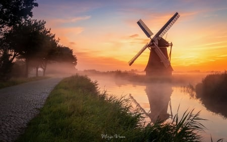 Windmill at Sunrise - windmill, canal, road, mist, sunrise