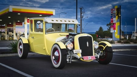 Mellow Yellow Hot Rod - yellow, cars, hot rod, ford