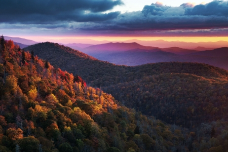 East Fork Overlook on the Blue Ridge Parkway, North Carolina - trees, forest, autumn, colors, sunset, clouds, sky