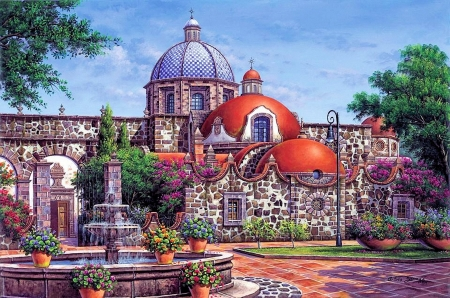 Mexican Architecture - old, artwork, building, fountain, painting, trees