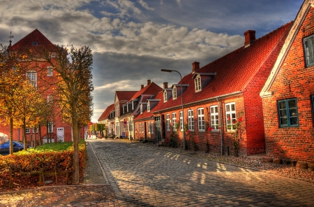 Autumn in a street - perspective, houses, urban, town, road, street, red, sky, clouds, photography, shadows