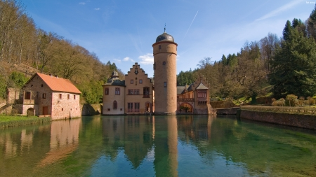 Water tower? (Mespelbrunn Castle):) - pretty, architecture, photography, water, perspective, tower, HD, reflection, England