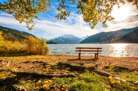 Autumn scenery - view, bench, beautiful, foliage, lake, fall, rest, autumn, Austria, mountain, scene