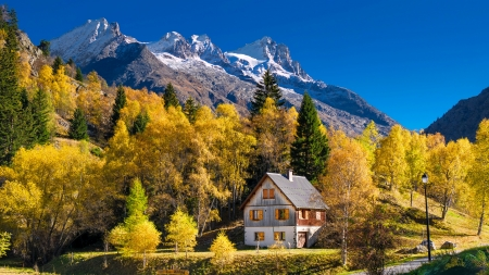 Autumn in France - house, autumn, slope, France, beautiful, rocks, hills, fall, chalet, mountain