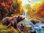 Bears at the stream * By Abraham Hunter